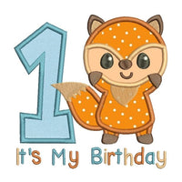 1st birthday fox applique machine embroidery design by rosiedayembroidery.com