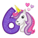 Girl's 6th birthday unicorn applique machine embroidery design by rosiedayembroidery.com