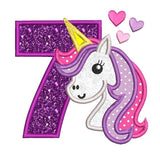 Girl's 7th birthday unicorn applique machine embroidery design by rosiedayembroidery.com