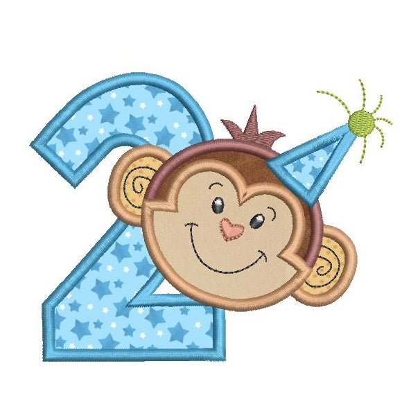 2nd birthday monkey applique machine embroidery design by rosiedayembroidery.com