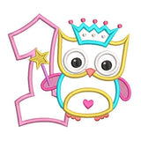 1st birthday owl applique machine embroidery design by rosiedayembroidery.com