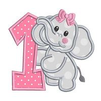 1st birthday elephant applique machine embroidery design by rosiedayembroidery.com
