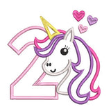 2nd birthday unicorn applique machine embroidery design by rosiedayembroidery.com