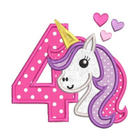 4th birthday unicorn applique machine embroidery design by rosiedayembroidery.com