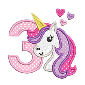 3rd birthday unicorn applique machine embroidery design by rosiedayembroidery.com