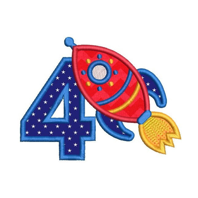 4th birthday rocket applique machine embroidery design by rosiedayembroidery.com