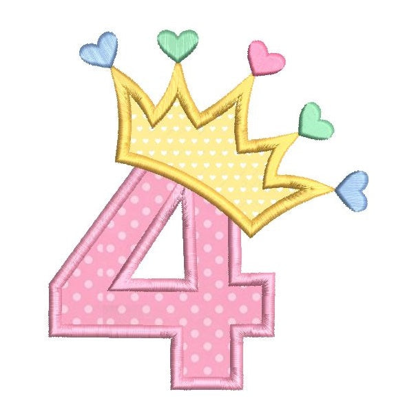 4th birthday princess applique machine embroidery design by rosiedayembroidery.com