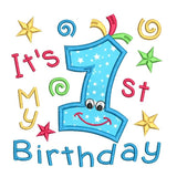 1st birthday applique machine embroidery design by rosiedayembroidery.com