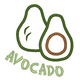Avocado applique machine embroidery design by rosiedayembroidery.com