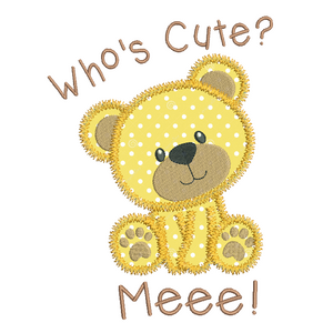 Cute teddy bear applique embroidery by embroiderytree.com