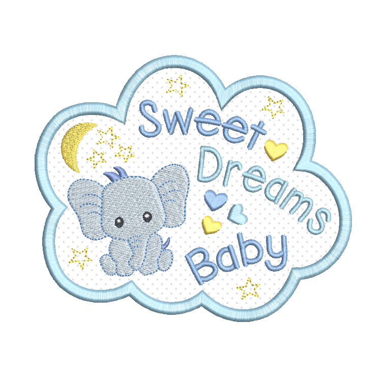 Sweet Dreams Baby applique machine embroidery design by rosiedayembroidery.com