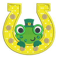 Frog in a horseshoe applique machine embroidery design by rosiedayembroidery.com