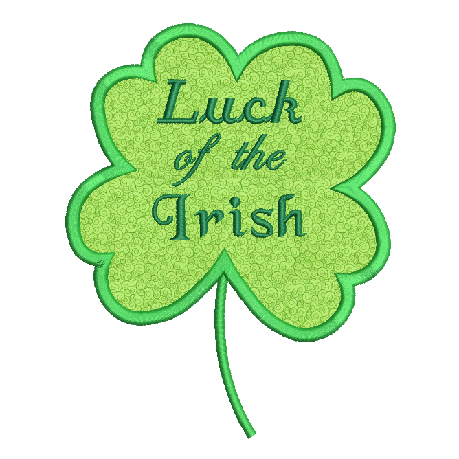 Luck of the Irish applique machine embroidery design by rosiedayembroidery.com