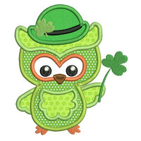 St Patrick's Day owl applique machine embroidery design by rosiedayembroidery.com