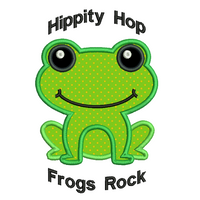 Frog applique machine embroidery design by rosiedayembroidery.com