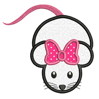 Cute mouse with bow applique machine embroidery design by rosiedayembroidery.com