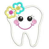 Girly tooth applique machine embroidery design by rosiedayembroidery.com