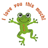 Cute frog machine embroidery design by rosiedayembroidery.com