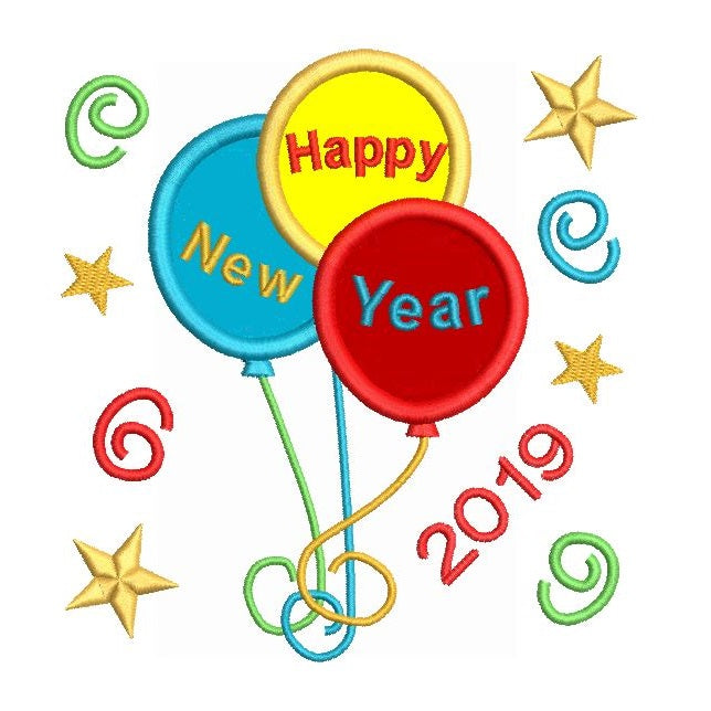 Happy New Year balloons applique embroidery design by rosiedayembroidery.com