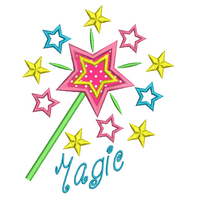 Magic wand applique machine embroidery design by rosiedayembroidery.com