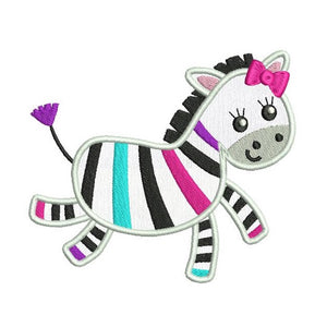 Cute Zebra applique machine embroidery design by rosiedayembroidery.com