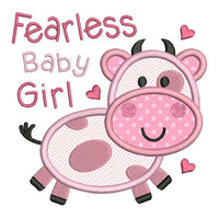 Fearless baby girl applique machine embroidery design by rosiedayembroidery.com