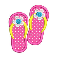 Girl's flip flops applique machine embroidery design by rosiedayembroidery.com