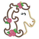 Sweet horse applique machine embroidery design by rosiedayembroidery.com