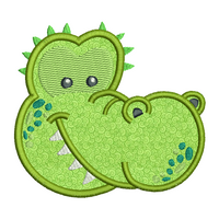 Crocodile face applique machine embroidery design by rosiedayembroidery.com