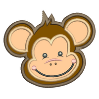 Monkey face applique machine embroidery design by rosiedayembroidery.com