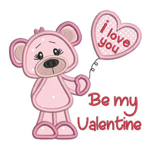 Valentine's Day teddy bear applique machine embroidery design by rosiedayembroidery.com