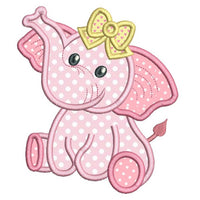 Baby girl elephant applique machine embroidery design by rosiedayembroidery.com