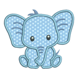 Baby elephant applique machine embroidery design by rosiedayembroidery.com
