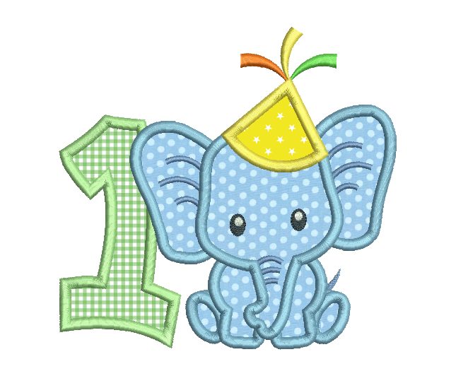 1st birthday number with elephant applique machine embroidery design by rosiedayembroidery.com
