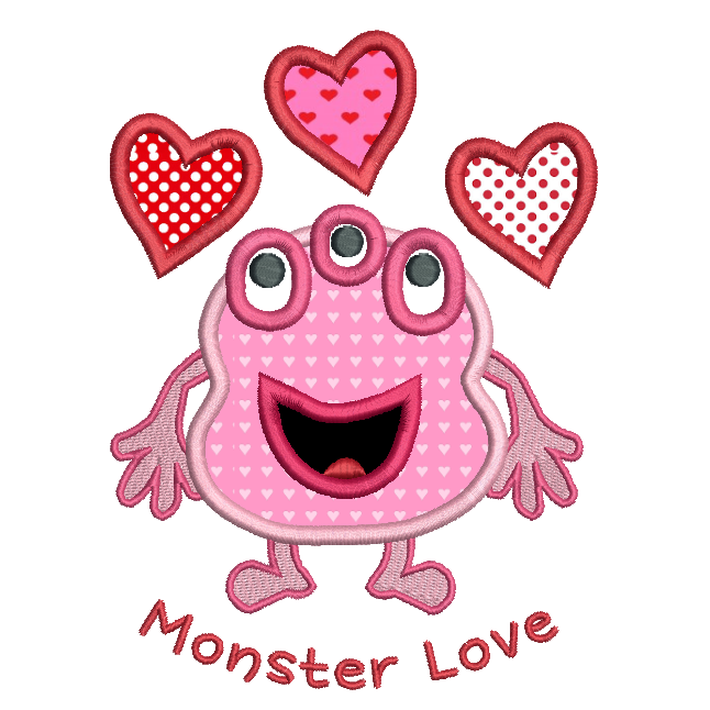 Valentine's day monster applique machine embroidery design by rosiedayembroidery.com