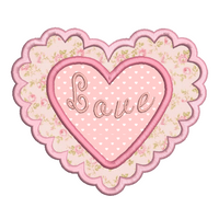 Applique Valentine's love heart by rosiedayembroidery.com