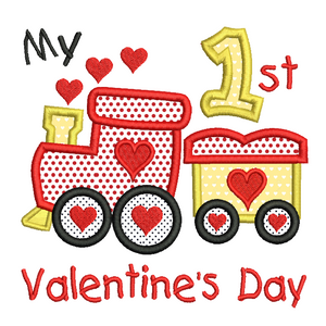 My 1st Valentine's train applique machine embroidery design by rosiedayembroidery.com