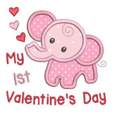 Valentine's Day baby elephant applique machine embroidery design by rosiedayembroidery.com