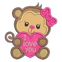 Valentine's Day monkey applique machine embroidery design by rosiedayembroidery.com