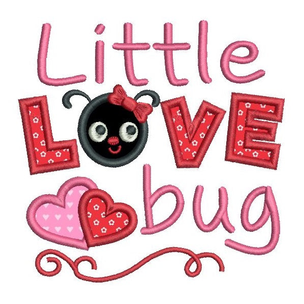 Valentine's Day love bug applique machine embroidery design by rosiedayembroidery.com