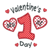 My 1st Valentine's Day applique machine embroidery design by rosiedayembroidery.com