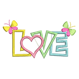 Love word with butterflies applique machine embroidery design by rosiedayembroidery.com