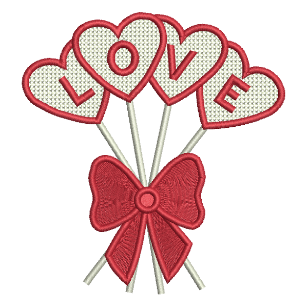 Valentine's Day love heart balloons applique machine embroidery design by rosiedayembroidery.com