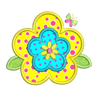 Spring Flower applique machine embroidery design by rosiedayembroidery.com