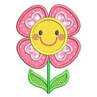Happy flower applique machine embroidery design by rosiedayembroidery.com
