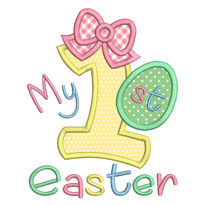 My 1st Easter - Number 1 Applique by rosiedayembroidery.com