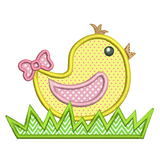 Cute Easter chick applique machine embroidery design by rosiedayembroidery.com