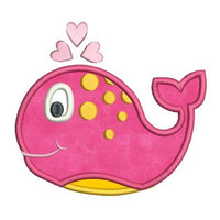Cute girl whale applique machine embroidery design by rosiedayembroidery.com
