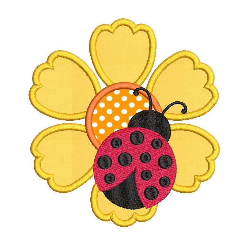 Ladybug on flower applique machine embroidery design by rosiedayembroidery.com