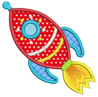 Toy rocket ship applique machine embroidery design by rosiedayembroidery.com